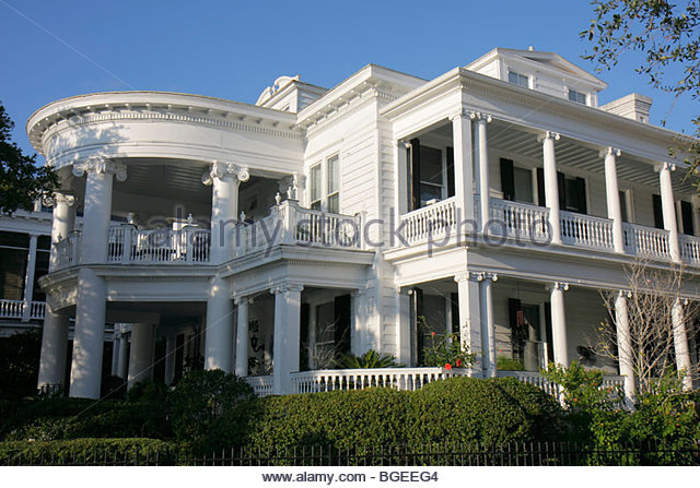 Charleston South Carolina National Historic Landmark Historic District preservation Rutledge Avenue house home mansion - Stock Image