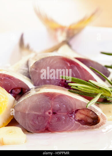 Fresh cutting Mackeral in olive oil. - Stock-Bilder
