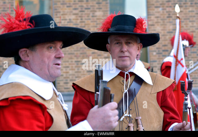 LONDON - MAY 14 2015:Pikemen and Musketeers of the Honourable Artillery Company parade in London,UK.It's 2nd - Stock Image