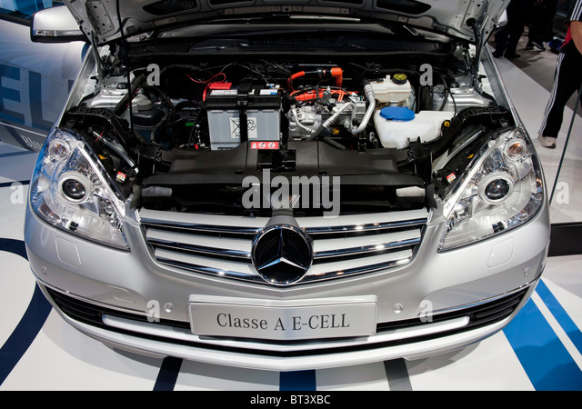 Detail of motor of electric Mercedes A-Class  E-Cell car at Paris Motor Show 2010 - Stock Image