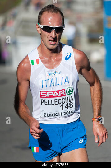 Zurich, Switzerland. 17th Aug, 2014. Liberato Pellecchia (ITL) on the steep and difficult track of the men's - Stock Image