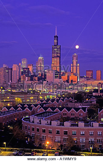 Chicago skyline Sears Tower at dusk Chicago Illinois USA - Stock Image