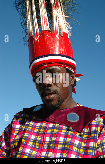 St Kitts Caribbean West Indies Man Wearing Carnival costume - Stock Image