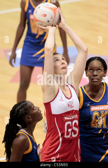 05.07.2011 Rachel Dunn of England(red) attempts a shot during the Pool D match between England and Barbados, Mission - Stock Image