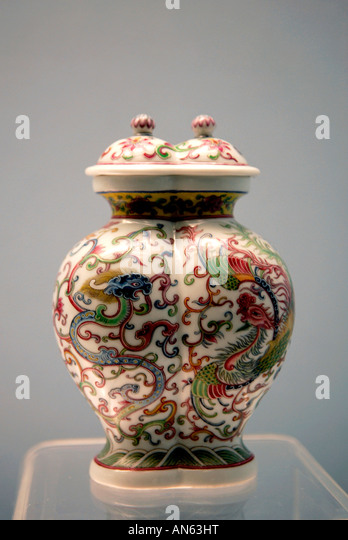 Shanghai Museum P R of China Polychrome Vase - Stock Image