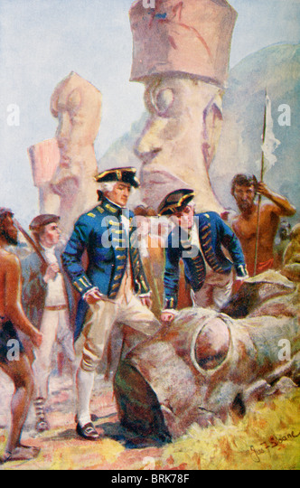 Captain James Cook examining the statues on Easter Island. Captain James Cook, 1728 –  1779. British explorer, navigator, - Stock Image