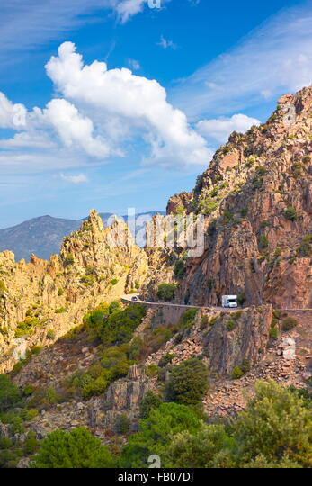 Les Calanches, volcanic red rocks formations mountains landscape, Golfe de Porto, Piana,  Corsica Island, France, - Stock-Bilder