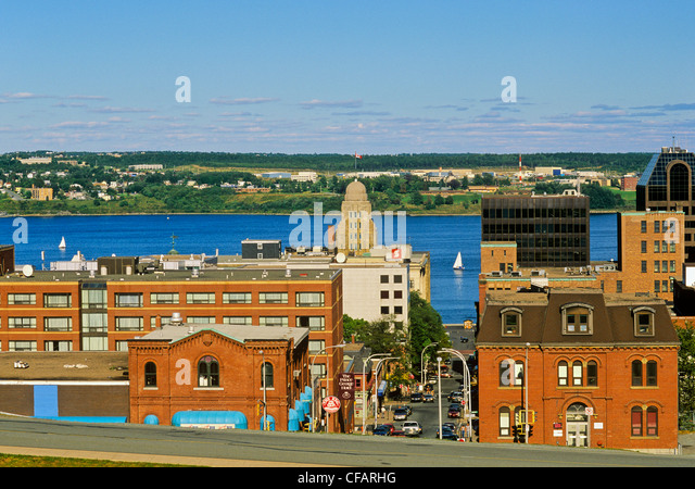 View towards the harbour from Citadel Hill, Halifax, Nova Scotia, Canada. - Stock Image