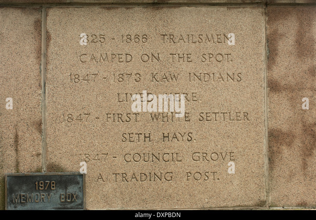 History of Council Grove, Kansas, an early town on the Santa Fe Trail. - Stock Image