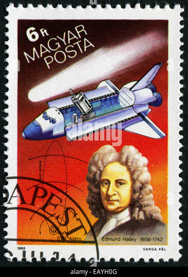 HUNGARY - CIRCA 1986: stamp printed by Hungary, shows Halley's Comet, Edmund Halley, shuttlecraft, circa 1986 - Stock Image