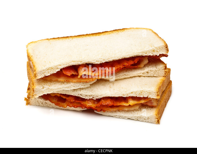 Bacon sandwich on white background - Stock Image