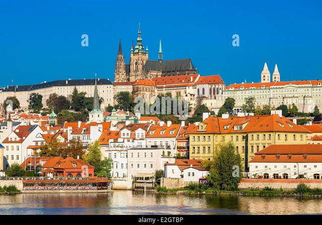 Czech Republic Prague historical centre listed as World Heritage by UNESCO St Guy Cathedral and Castle of Prague - Stock Image