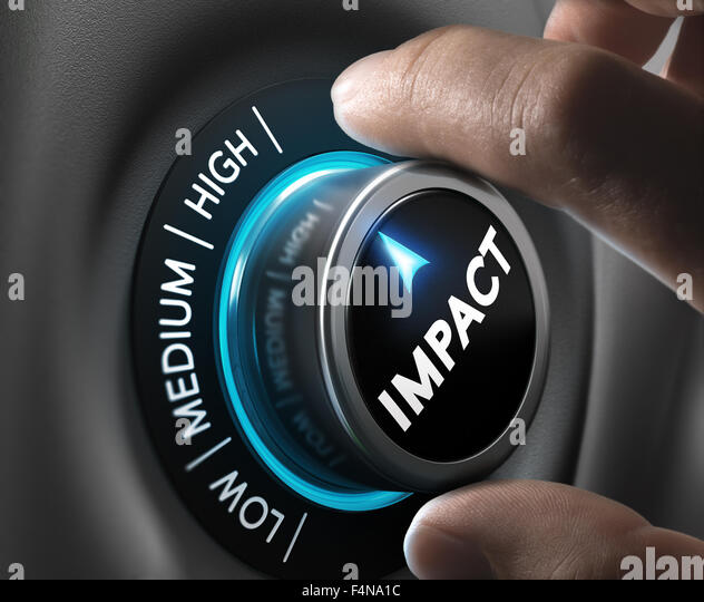 Man hand turning a knob in the highest position,  Concept image for illustration of high impact communication and - Stock Image