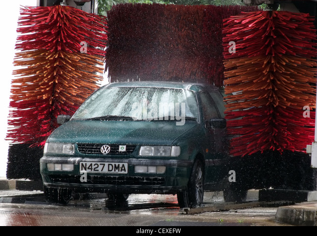 In the service station car wash - Stock Image