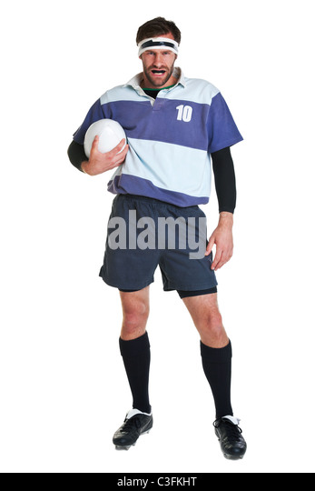 Photo of a rugby player cut out on a white background. - Stock Image