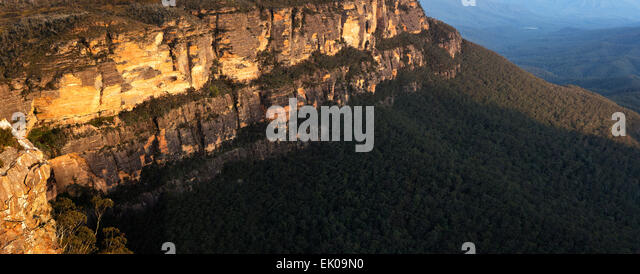 Detail of the Escarpment on Sublime Point and Jamison Valley Blue Mountains National Park New South Wales Australia - Stock Image