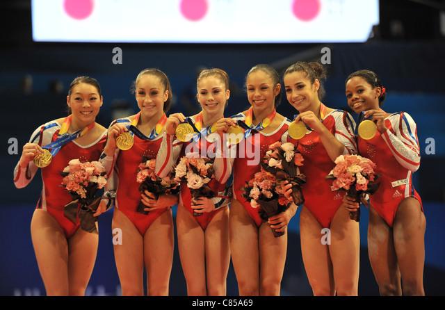 Team USA (USA) line-up during the 2011 Artistic Gymnastics World Championships. - Stock Image