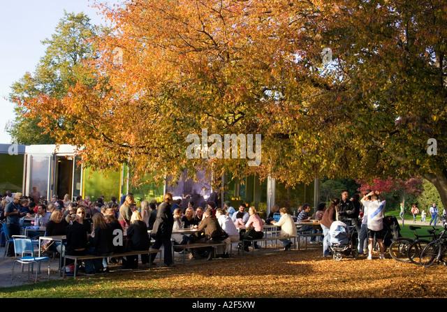 Switzerland Zuerich Zurich lake promenade in autumn people street cafe trees - Stock Image