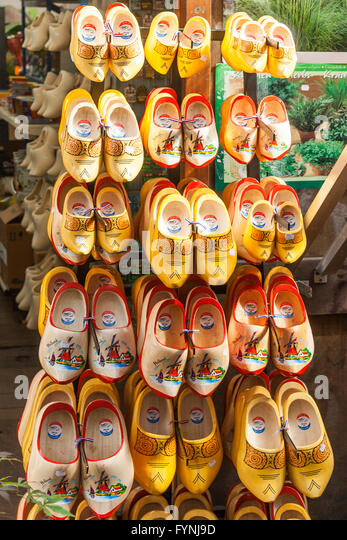 Traditional wooden shoes, Clogs, Amsterdam flower marketAmsterdam, Netherlands - Stock Image