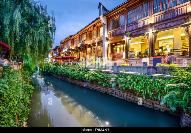 Fuzhou, China at Three Lanes Seven Alleys traditional shopping district. - Stock-Bilder