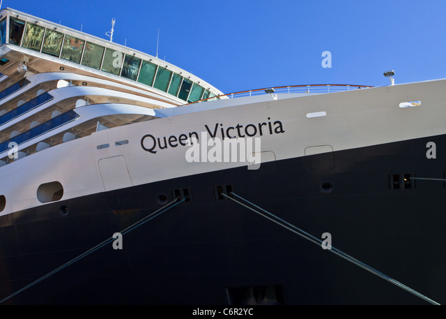 Cruise liner Queen Victoria at Venice harbor , Italy - Stock Image