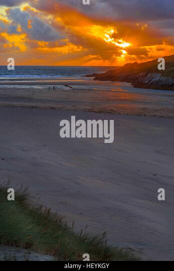 a river estuary and beach on Crantock Beach in Newquay, Cornwall, UK - Stock Image