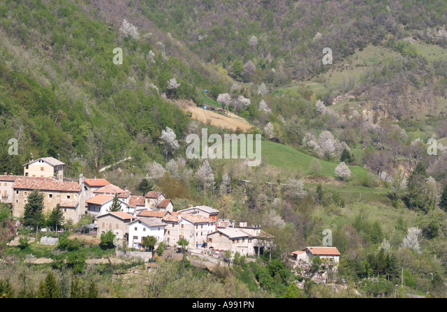 Hamlet in the Sibillini National Park Mountains of Le Marche,the Marches, Italy - Stock Image