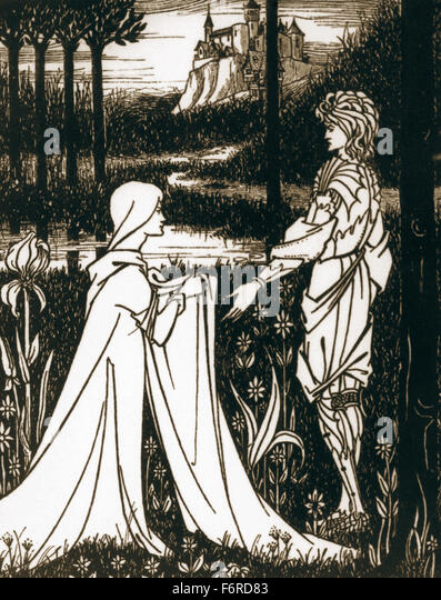 Arthurian legend. King Arthur and the Lady of the Lake. Engraving. 19th century. - Stock Image
