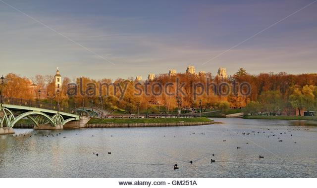 The central pond in the park Tsaritsyno. Park Tsaritsyno state historical-architectural art and landscape reserve - Stock Image