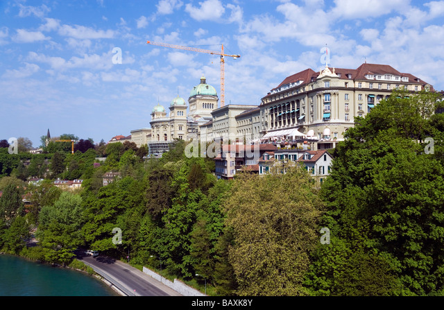 View of the House of Parliament, Bundeshaus, Bellevue, Old City of Berne, Berne, Switzerland - Stock Image