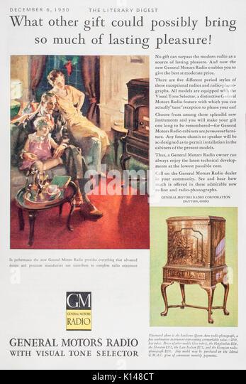 1930's magazine print advertisement describing General Motors Radio sets for sale. - Stock Image
