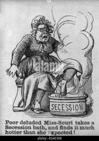 Illustrated Civil War 'Union Envelopes':  Poor deluded Miss-Sori takes a Secession Bath, circa 1861 - Stock Image
