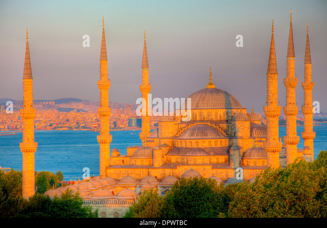 The Blue Mosque, Istanbul, Turkey, Built 1609, Black Sea near the Bosphorus, World Heritage Site - Stock Image