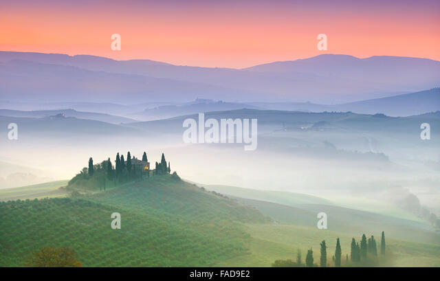 Typical Tuscany landscape, Val Dorcia at dawn, Italy - Stock Image