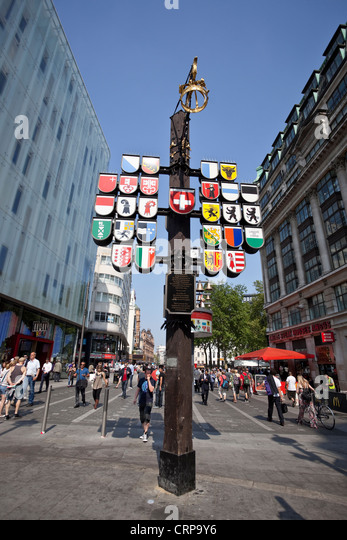Swiss Court post at Leicester Square, London, England, UK - Stock Image