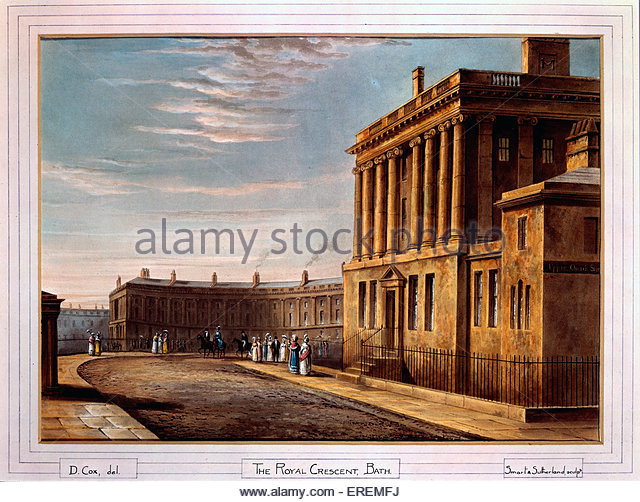 The Royal Crescent, Bath by David Cox, 1820. English landscape painter (1783 –  1859). - Stock Image