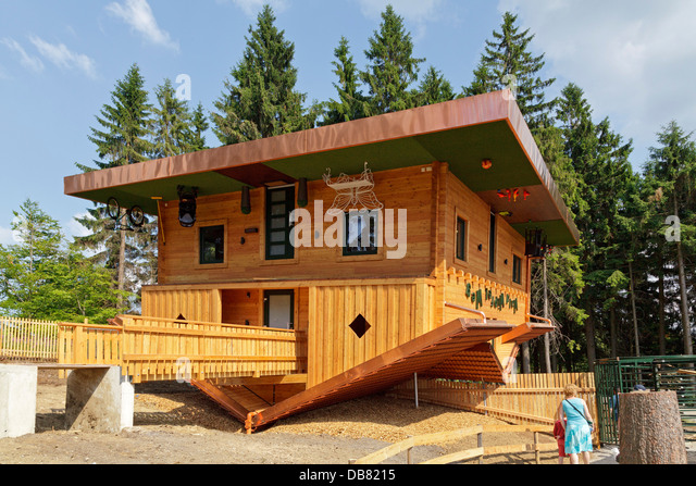 house turned upside down, Waldwipfelweg, Maibrunn, Bayerischer Wald, Baveria, Germany - Stock Image