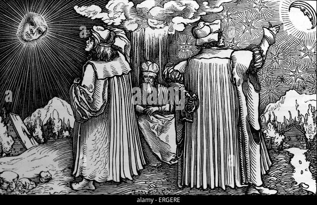 'The Planetary Systems' - from reproduction of wood engraving attributed to Holbein in the German translation - Stock Image