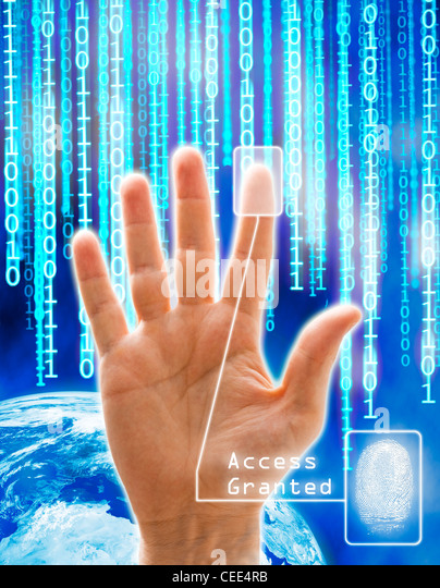 Image concept of security and technology. All the images are computer generated except the hand that is a physical - Stock-Bilder