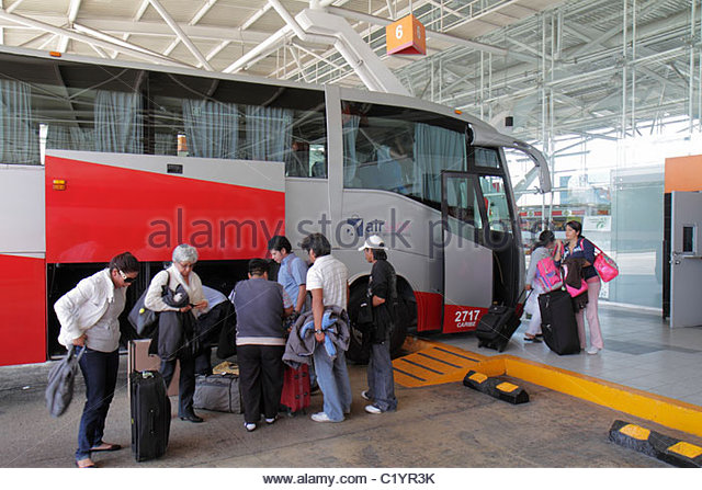 Cancun Mexico Yucatán Peninsula Quintana Roo ground transportation ADO Bus Station covered terminal Hispanic - Stock Image