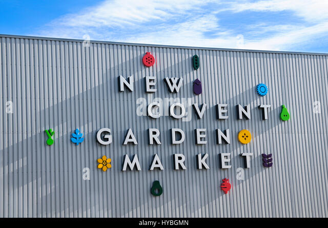 New Covent Garden Market (opened 2017).  Logo on the flower market at the new site in Nine Elms, Vauxhall. - Stock Image