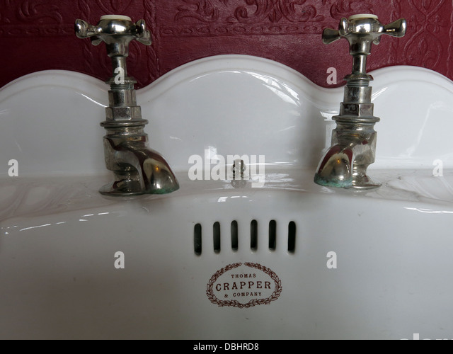 Crapper sink from Longton Stoke-On-Trent Great Britain showing potteries heritage at the Gladstone Pottery Museum - Stock Image