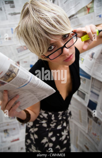 newspaper,reading,press work,journalist,editor - Stock Image