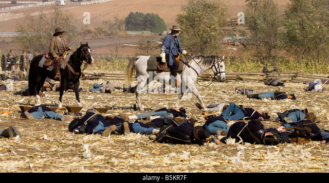 Dead Soldiers on Battleground - Stock Image