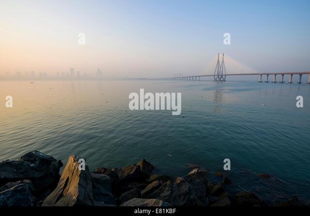 Bandra–Worli Sea Link, or Rajiv Gandhi Sea Link, Mahim Bay, Mumbai, Maharashtra, India - Stock Image