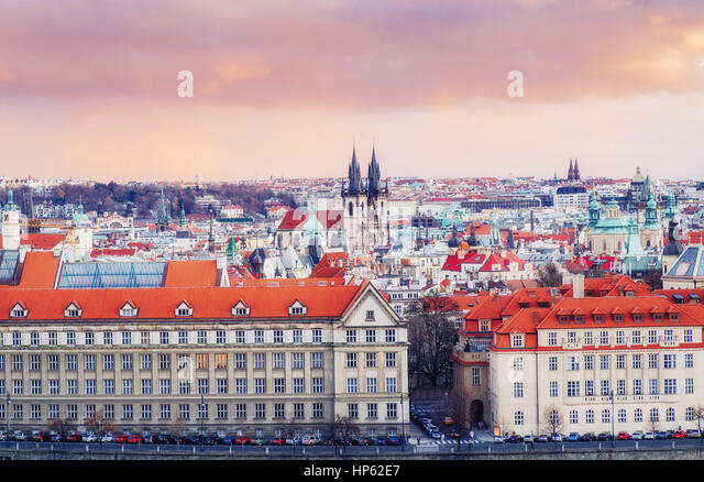 red roofs Czech Republic. The picturesque view - Stock Image