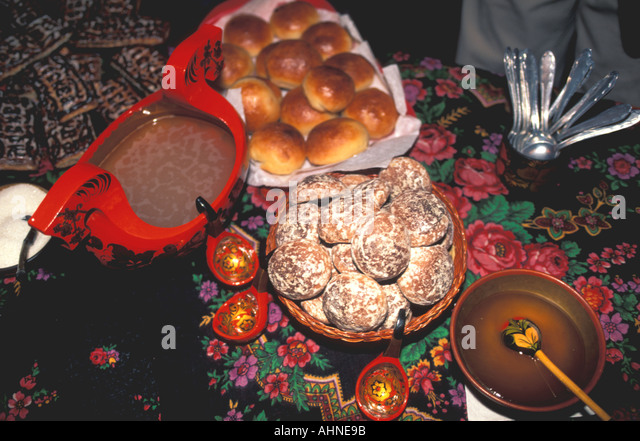 Russia Pastries breads desserts local food dining moscow - Stock Image