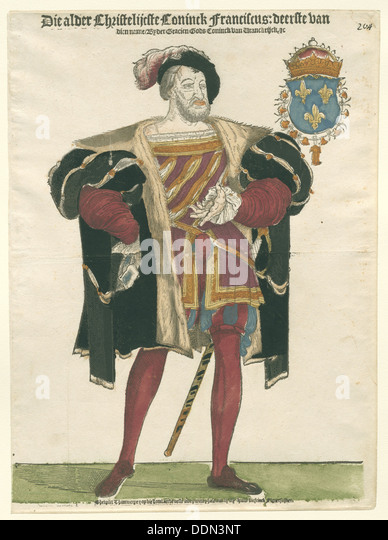 Portrait of Francis I (1494-1547), King of France, Duke of Brittany, Count of Provence, c.1540. Artist: Anthonisz., - Stock Image