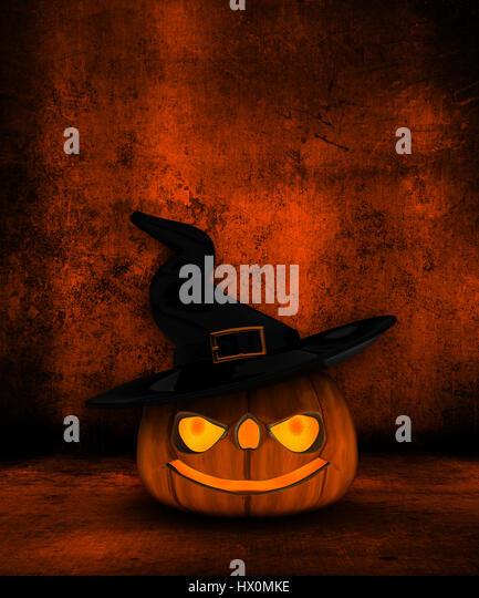 Grunge Halloween background with 3D Jack O Lantern - Stock Image