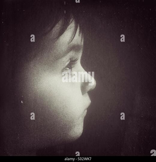 Toddler Caucasian girl portrait in black and white. - Stock-Bilder